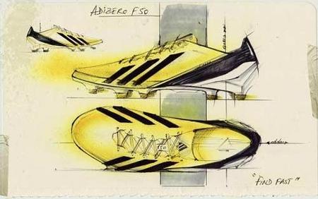 图片:梅西新款战靴的手绘设计图稿.