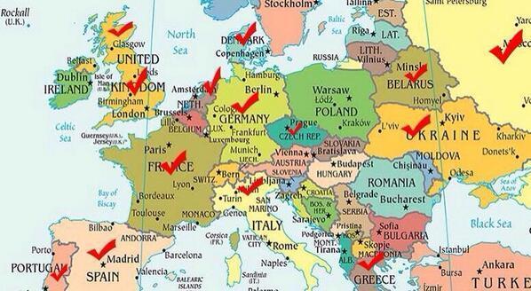 地图:被巴塞罗那的梅西进过球的