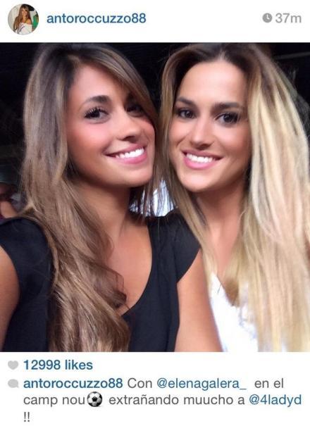 图片:梅西女友和布斯克茨女友在今天的比赛中[via