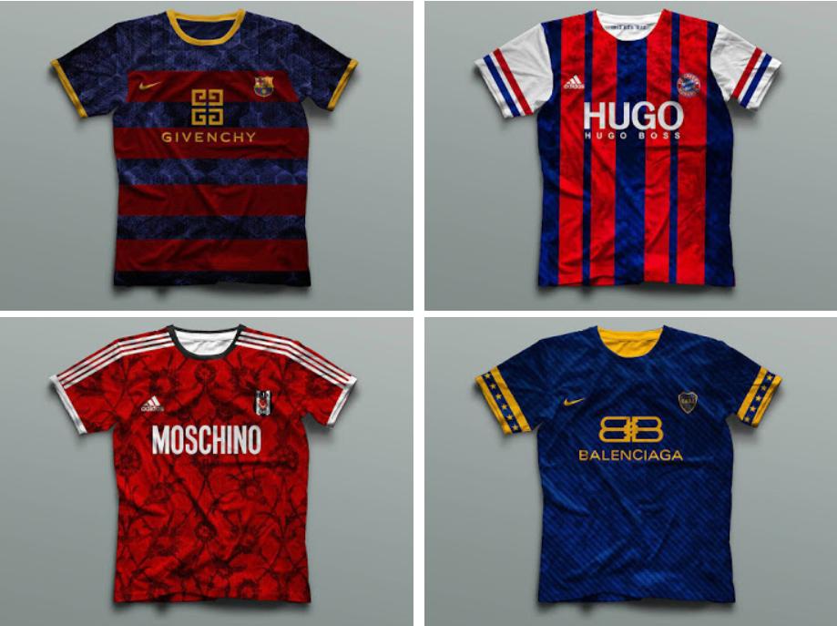 近日自由职业的著名设计师特谢拉设计了一组欧洲豪门俱乐部的概念球衣,将著名奢侈品牌与球队的球衣相结合,在保留球衣经典款式的同时融入新的元素。 第一组是西甲豪门巴塞罗那、德甲豪门拜仁慕尼黑、土超豪门贝西克塔斯和阿根廷豪门博卡青年。  第二组是土超劲旅费内巴切、法国国家队、土超豪门加拉塔萨雷和意甲豪门国际米兰。除了阿玛尼图标,国际米兰球衣还特地保存了赞助商倍耐力商标。  第三组是日本国家队、意甲豪门尤文图斯、英超豪门利物浦和曼城。  最后一组是英超豪门曼联、法甲劲旅摩纳哥、北美大联盟新贵纽约城和西甲豪门皇家马德