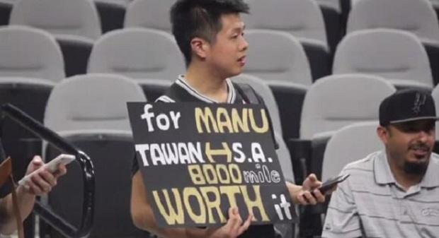 感动!台灣球迷飛躍8000英里尋Manu Ginóbili,成功獲得簽名(影片)