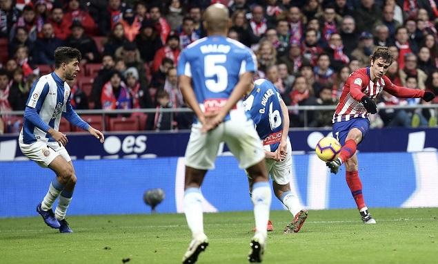 科克造点格列兹曼点射破门制胜,马竞1-0西班牙人