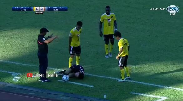 GIF:亚联杯现暴力事件,菲律宾球员猛踹倒地对手腰腹
