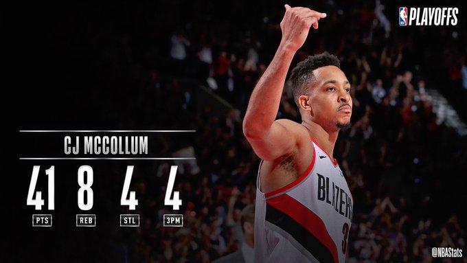 [虎]NBA官方评选今日最佳数据:CJ-麦科勒姆41分当选