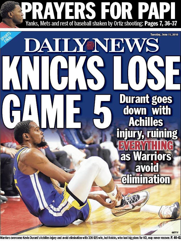 因KD重伤,纽约媒体头版头条:尼克斯输掉了G5 NBA新闻