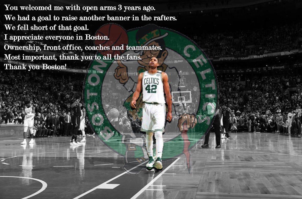 霍弗德发推感谢绿军:我感激波士顿的每一个人 NBA新闻