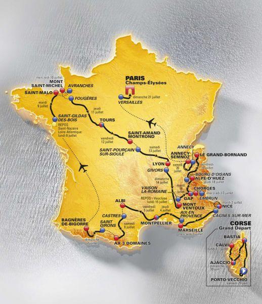 2013年百届环法自行车赛路线图公布