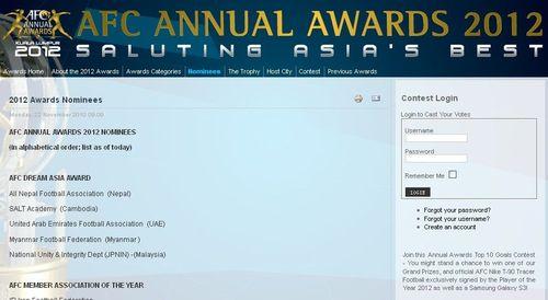 亚足联各奖项候选出炉,中国获3项提名