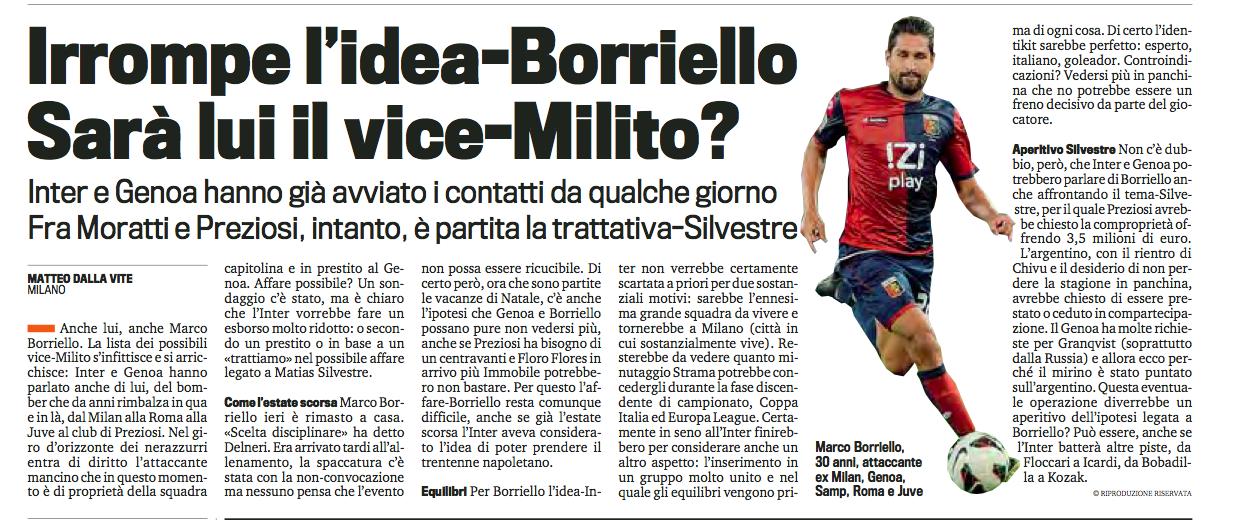 传:热那亚国米谈西尔维斯特雷,还搭博列洛