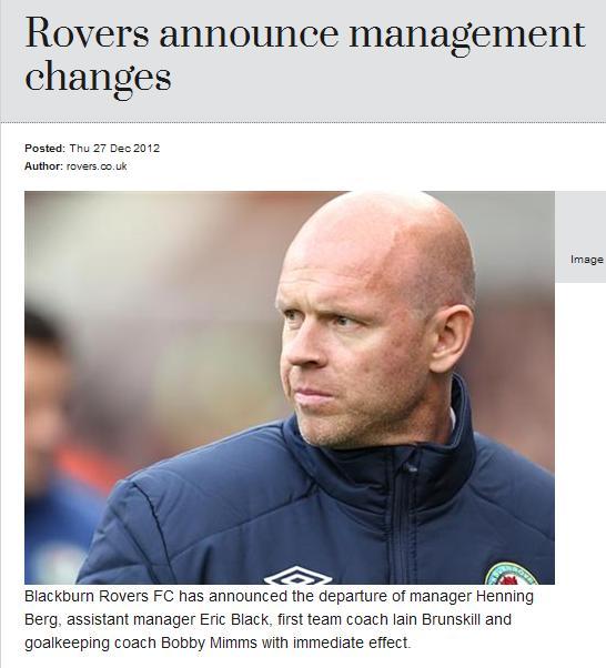 官方:布莱克本解雇主教练亨宁-伯格