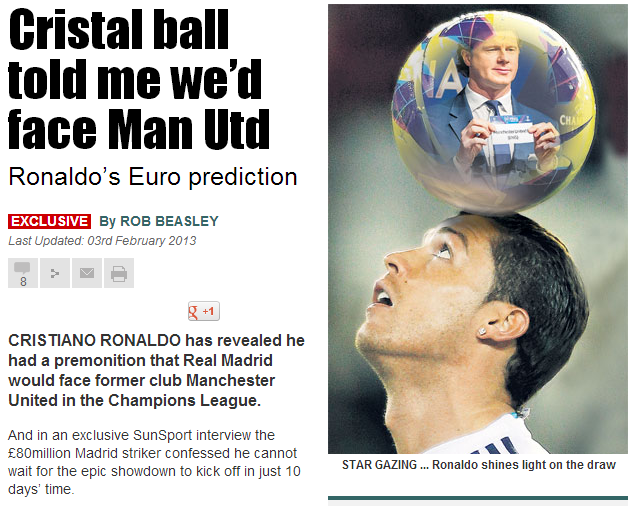 C罗:早预感到欧冠会抽到曼联