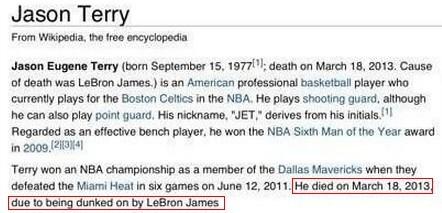 囧!特里的维基百科也被修改