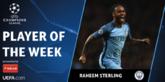 本周欧冠最佳球员:曼城前锋斯特林当选
