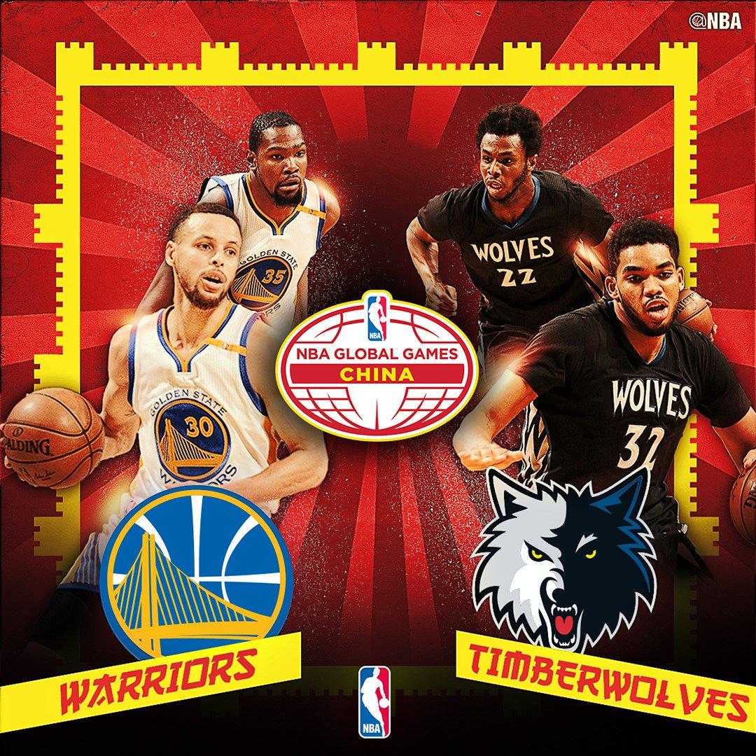 官方:勇士和森林狼将进行2017年NBA中国赛
