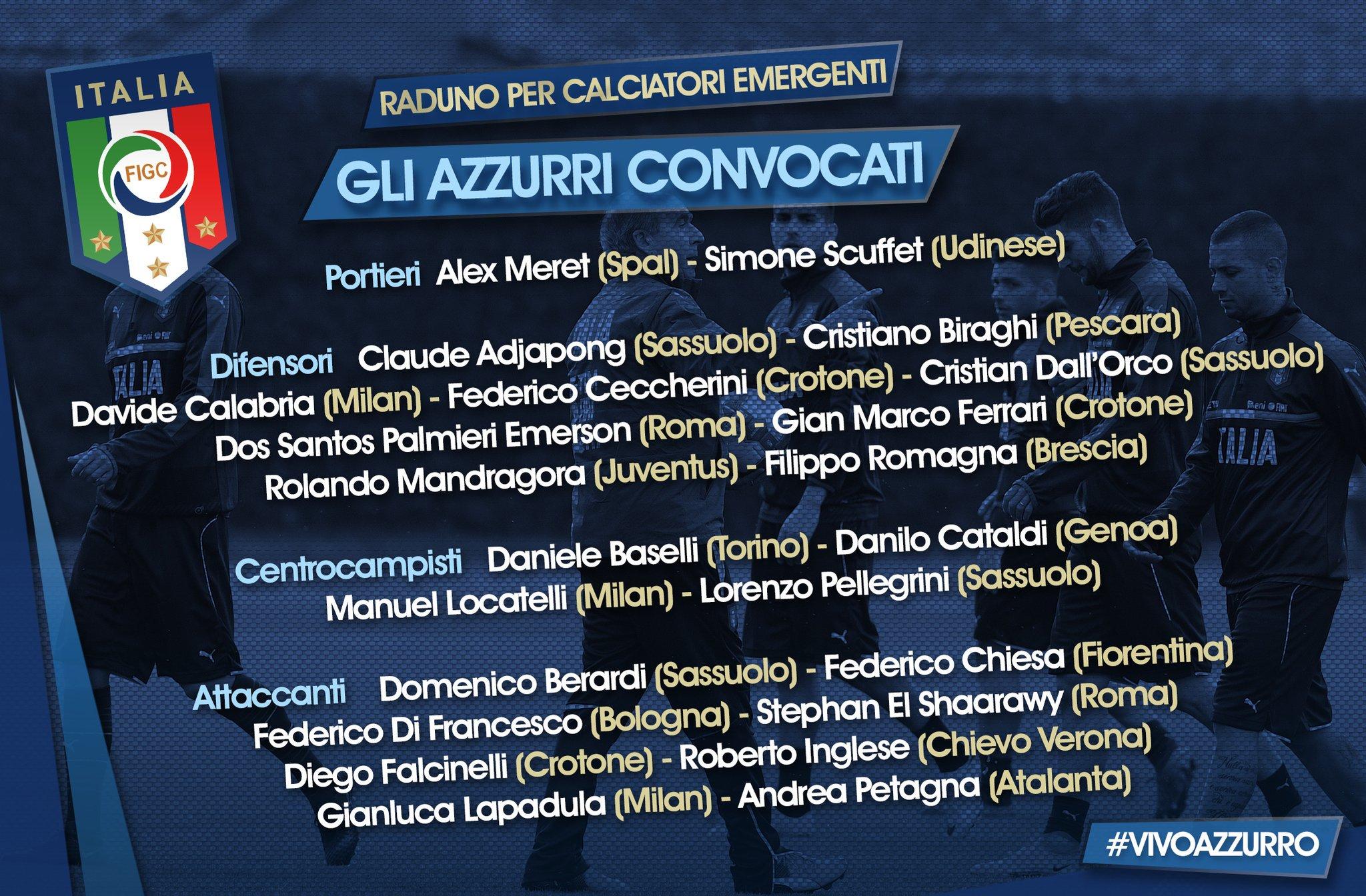 意大利公布23人集训大名单:基耶萨沙拉维入选