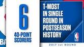季后赛开赛8天已有6位不同球员至少拿到40分
