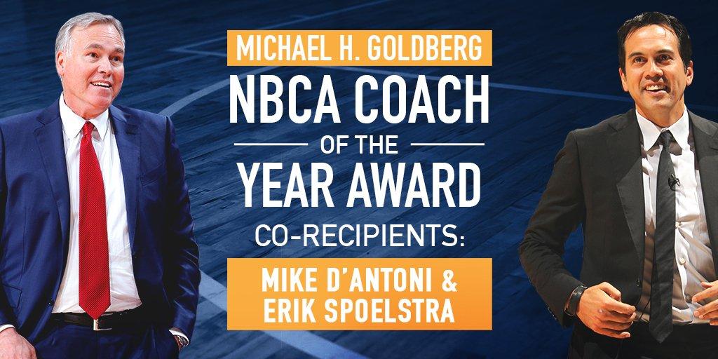 德安东尼与斯波同时获得教练协会赛季最佳教练奖