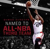 猛龙官方晒图祝贺德罗赞入选NBA最佳阵容