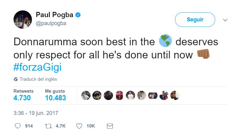 博格巴:唐纳鲁马配得上尊重,他会成为世界最佳