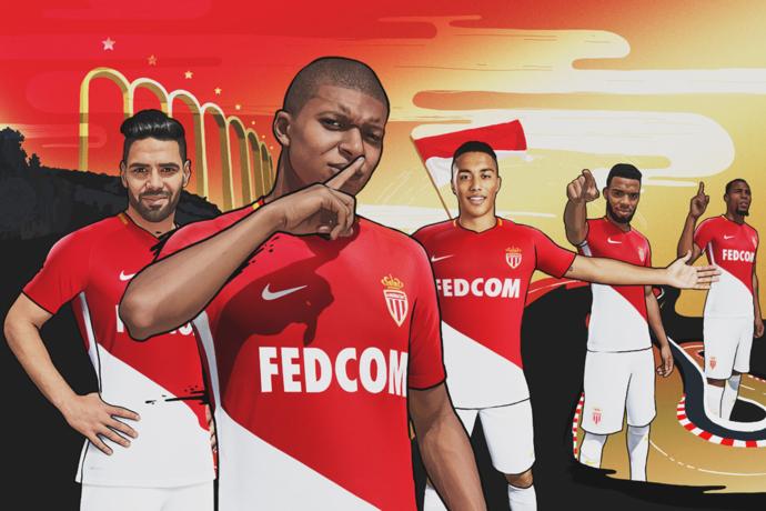 摩纳哥发布新款球衣,姆巴佩与勒马尔登上封面宣传照