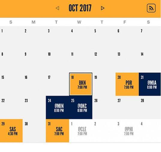 步行者公佈每月賽程的詳細情況:揭幕戰對籃網