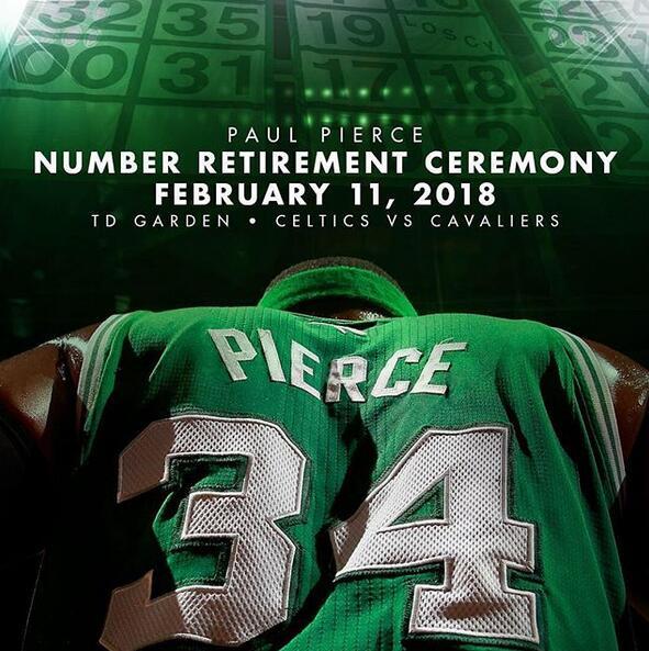 凱爾特人官方發佈皮爾斯球衣退役儀式宣傳海報