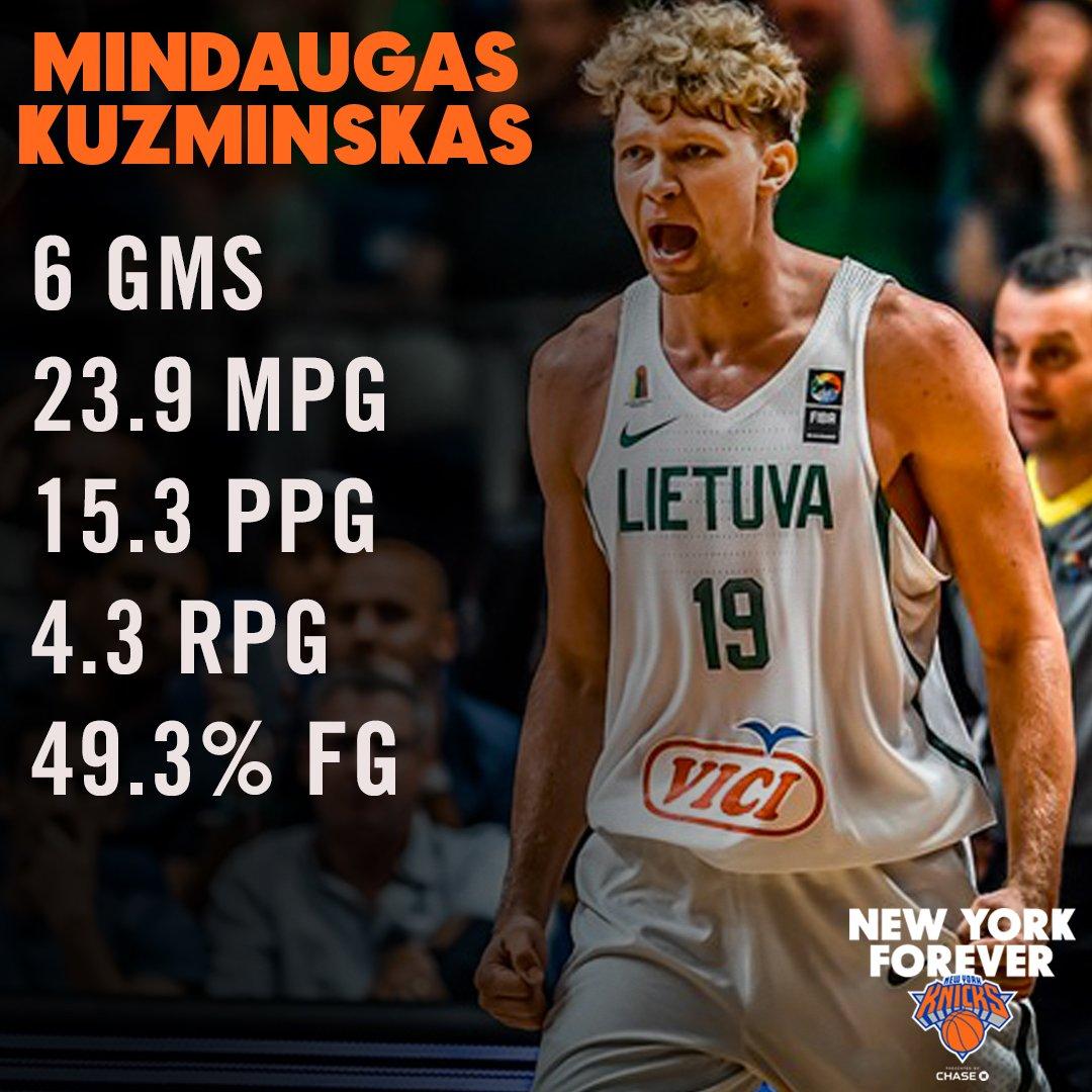 库兹明斯卡斯欧锦赛场均数据:15.3分4.3篮板
