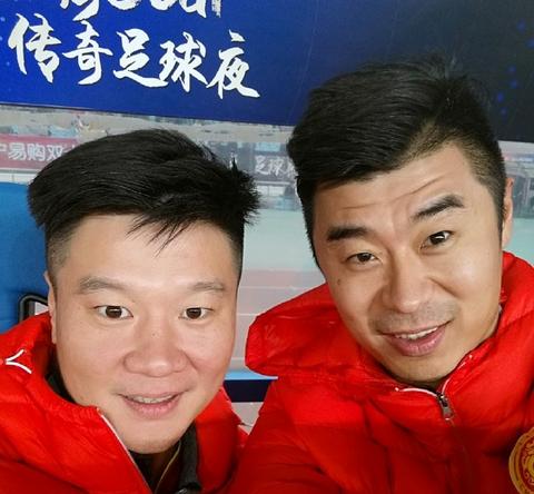 韩鹏晒与李金羽和朱广沪合影:十年好快,满满的回忆