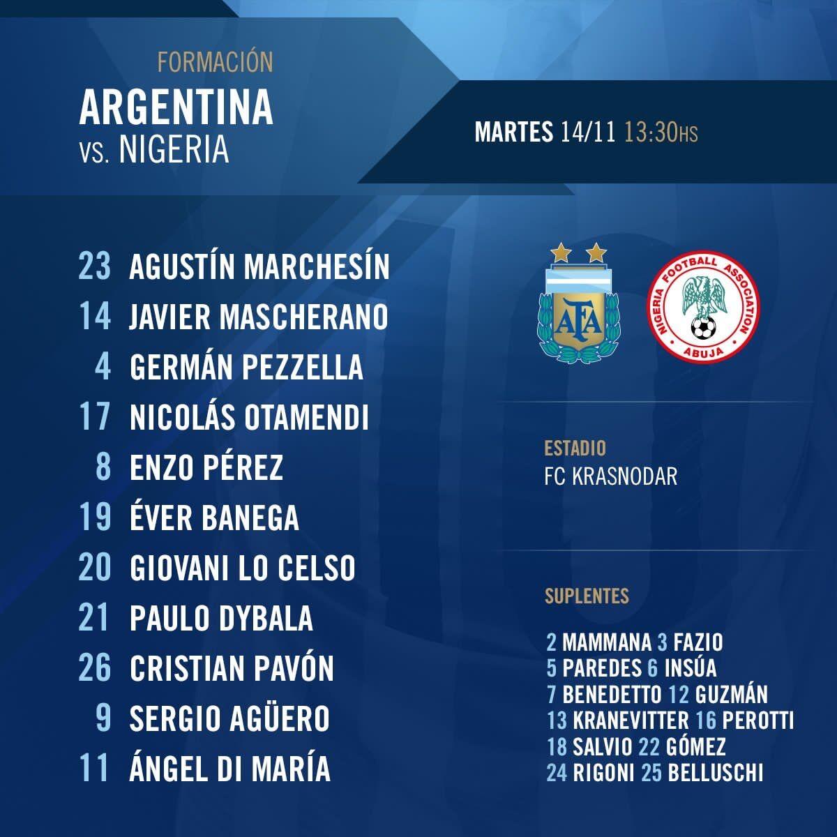 阿根廷vs尼日利亚:迪马利亚、阿圭罗先发,迪巴拉登场