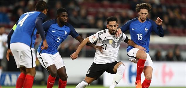 友谊赛:拉卡泽特双响施廷德尔绝平,德国2-2法国