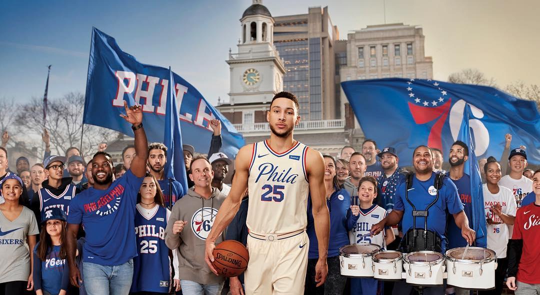 为了费城!西蒙斯晒自己身穿城市版球衣的照片