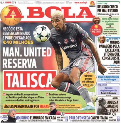 球报:曼联4000万欧预订巴西中场塔利斯卡