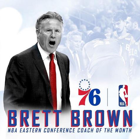 76人官方祝贺布雷特-布朗当选3、4月东部最佳教练