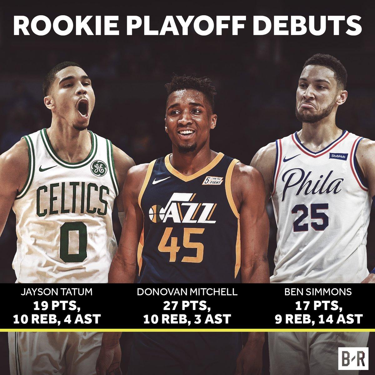 媒体发图展示三位新秀季后赛首秀数据对比