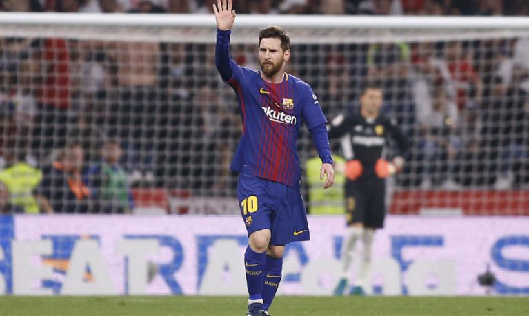 梅西第5场国王杯决赛进球,追平萨拉进球纪录