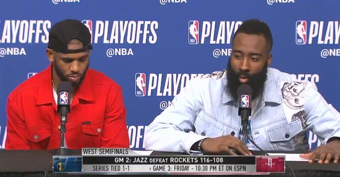 哈登:如果给对手这样的自信,比赛将很难打