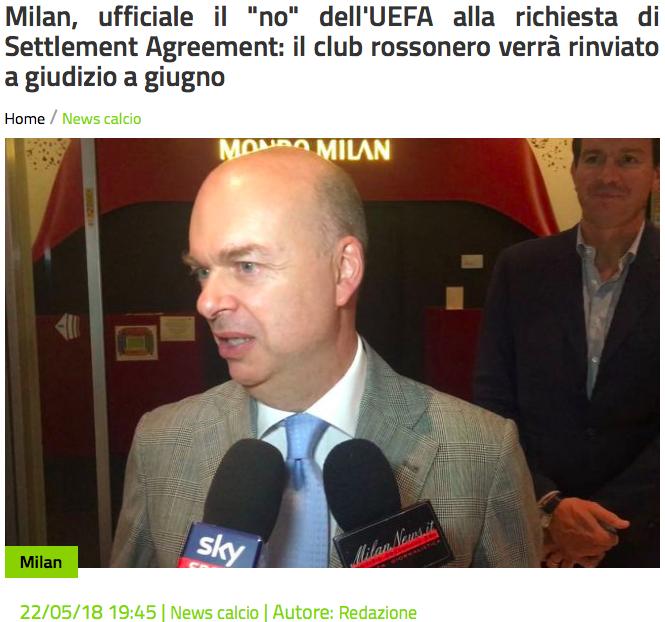 阴影:欧足联拒绝与AC米兰缔结和解协议