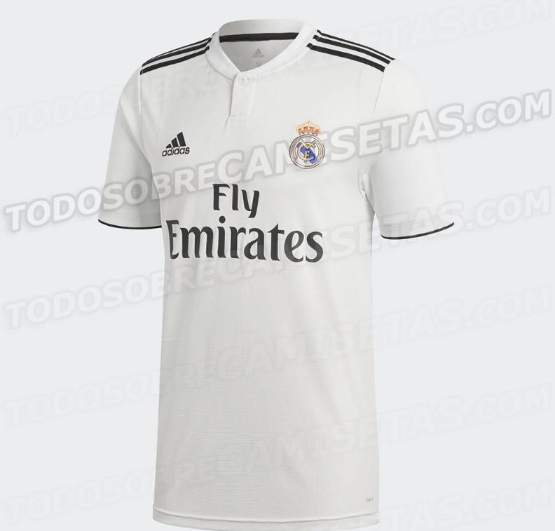 皇马新赛季球衣曝光,黑色线条重回主场球衣