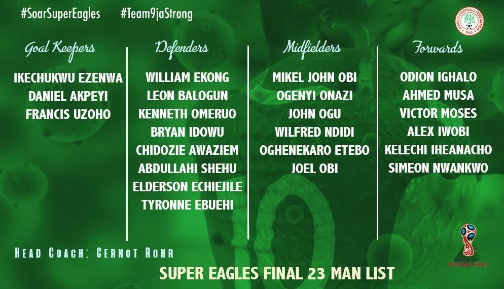 尼日利亚23人大名单:米克尔领衔,伊哈洛、伊沃比入选