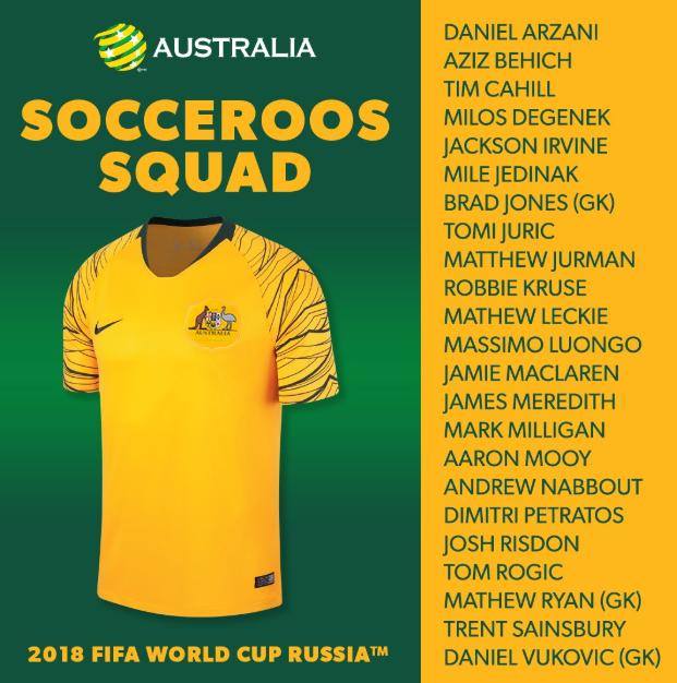 澳大利亚世界杯23人大名单:卡希尔塞恩斯布里入选