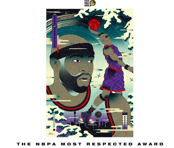 """卡特获得由NBA球员工会颁发的""""最受尊敬奖"""""""
