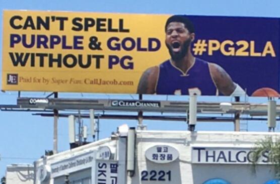 湖人球迷买下40多块广告牌招募乔治