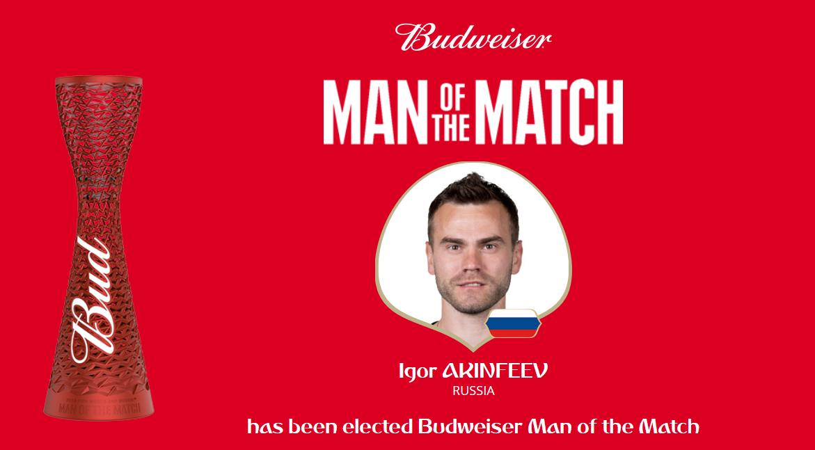 一夫当关!阿金费耶夫当选为全场最佳球员