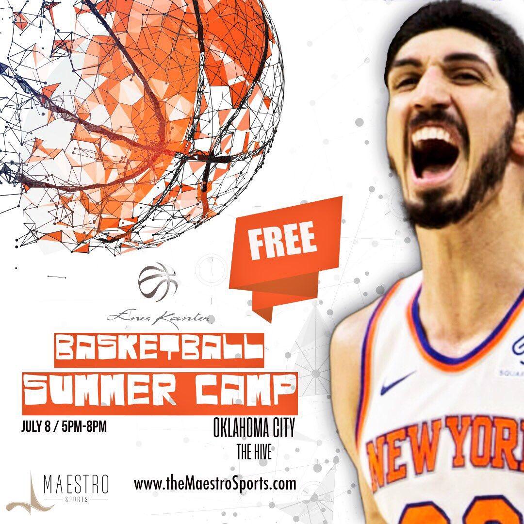 坎特将在俄克拉荷马城举办免费篮球夏令营