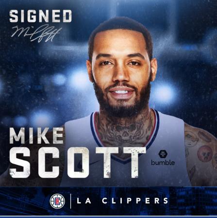 官方:快船正式签下自由球员前锋迈克-斯科特