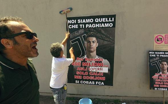 菲亚特集团员工张贴反C罗海报,将罢工2天