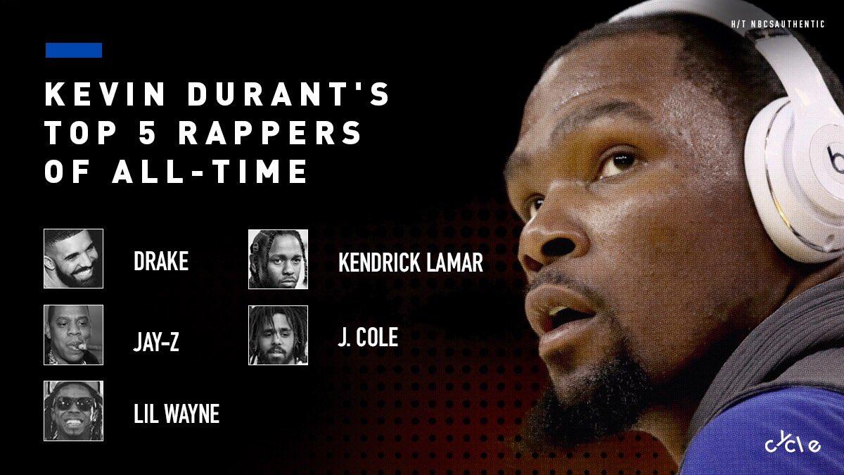 杜兰特选出心目中最好的5名说唱歌手,Drake领衔
