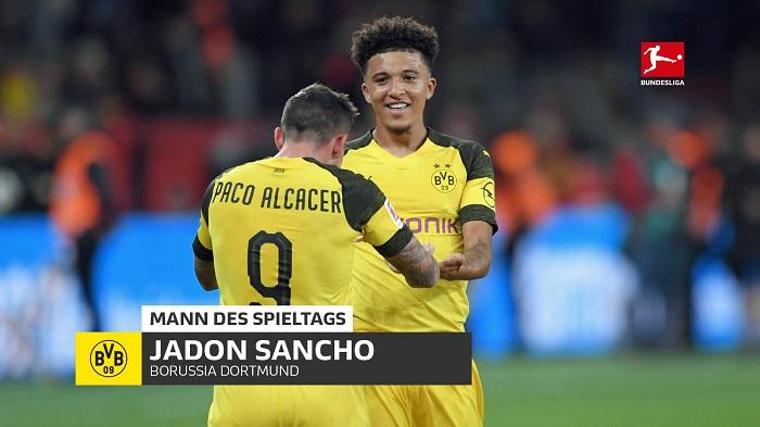 高效,桑乔中选本轮德甲最佳球员