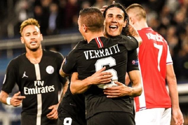 欧冠:内马尔戴帽卡瓦尼姆巴佩分别传射,巴黎6-1红星
