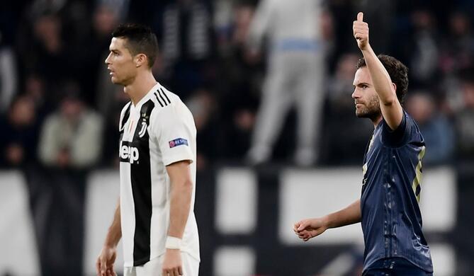 欧冠:C罗破门马塔任意球破门,曼联客场2-1逆转尤文
